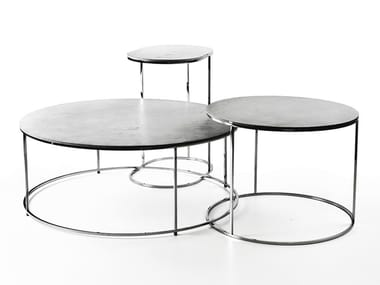 Low round concrete coffee table AIRSTEEL