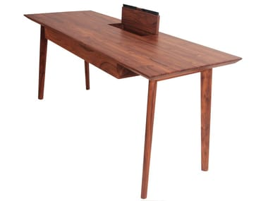 Teak office desk with cable management AJJI | Office desk with cable management