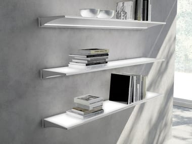 Glass and aluminium wall shelf with integrated lighting ALA