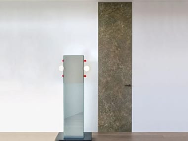 Hinged flush-fitting porcelain stoneware door ALADIN DUO SWING PLAIN | Porcelain stoneware door