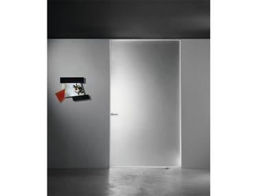Flush-fitting glass pivot door ALADIN PIVOT PLAIN MONO