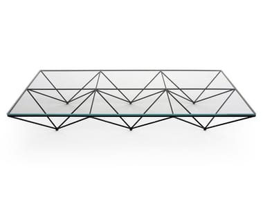 Rectangular glass and steel coffee table ALANDA '18
