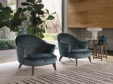 Fabric armchair with removable cover with footstool ALASIA