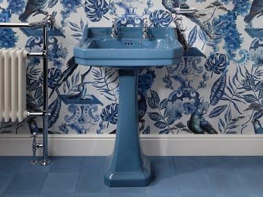 Rectangular pedestal Vitreous China washbasin ALASKA BLUE | Washbasin