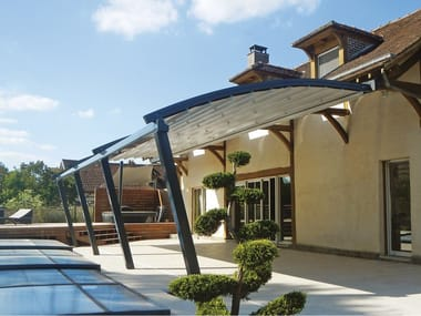 Motorized aluminium and PVC pergola with sliding cover ALASKA
