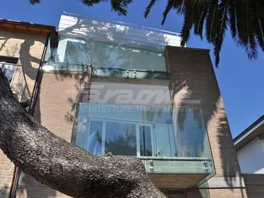 Parapetto in acciaio e vetro ALBA R09-ALU