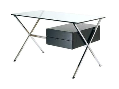 Glass and steel writing desk with wooden drawers ALBINI DESK
