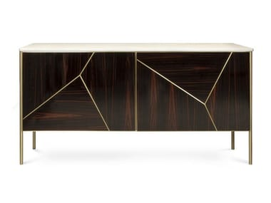 Ebony and marble sideboard with doors ALDEM