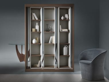 Open freestanding double-sided wooden bookcase ALESSIA
