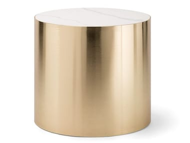 Round Carrara marble and brass coffee table ALEXANDER