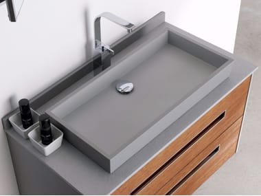 Lavabo da appoggio rettangolare singolo in Silexpol® ALFA