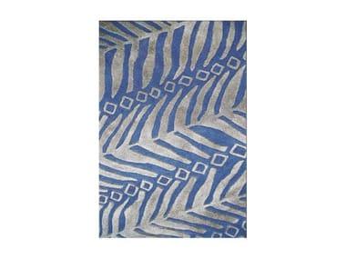 Patterned handmade rectangular rug ALGUE