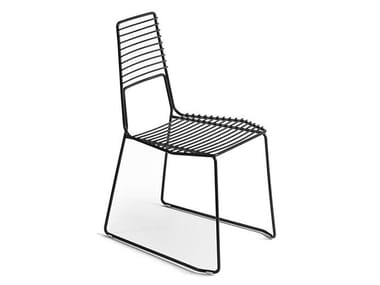 Sled base metal garden chair ALIENO | Chair