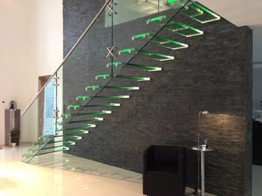 Self supporting LED Glass and Stainless Steel Open staircase with lateral stringers ALL GLASS STAIRCASE