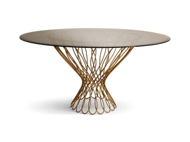 Round glass and iron dining table ALLURE