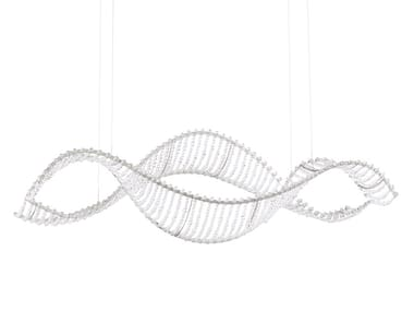 LED glass and steel pendant lamp with Swarovski® Crystals ALON