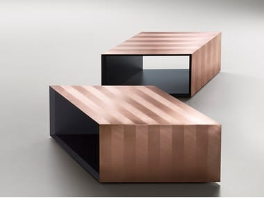 Copper rhomboid-shaped table ALPHA