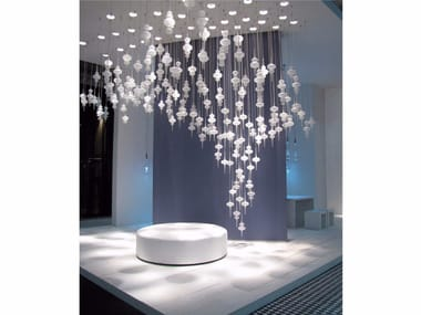 Contemporary style glass pendant lamp ALPHA