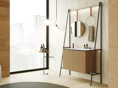 Meuble sous-vasque simple en acier inoxydable avec lavabo intégré ALTALENA | Meuble sous-vasque