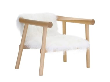 Goatskin armchair with armrests ALTAY | Goatskin armchair