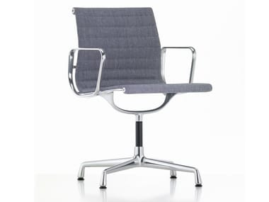 Swivel fabric chair with 4-spoke base with armrests ALUMINIUM CHAIR EA 104