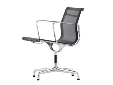 Swivel fabric chair with 4-spoke base with armrests ALUMINIUM CHAIR EA 108
