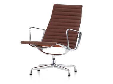 Swivel leather chair with 4-spoke base with armrests ALUMINIUM CHAIR EA 116