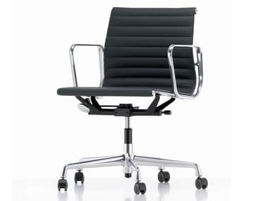 Swivel leather office chair with armrests ALUMINIUM CHAIR EA 117