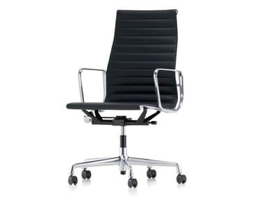 Sedia ufficio girevole in pelle con braccioli ALUMINIUM CHAIR EA 119