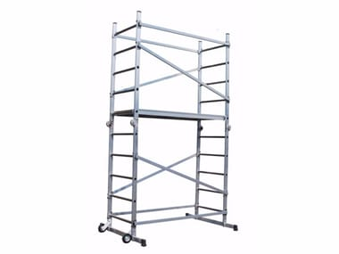 Mobile scaffolding and ladder for construction site ALUMIX