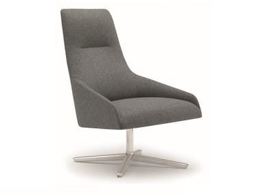 High-back fabric armchair with 4-spoke base ALYA BU1520