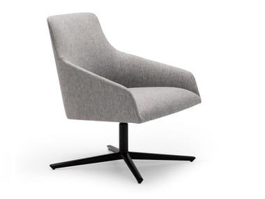 Swivel fabric easy chair with 4-spoke base ALYA BU1523