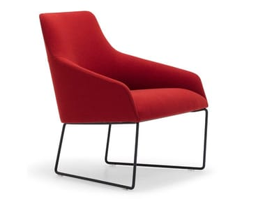 Sled base fabric easy chair with armrests ALYA BU1539