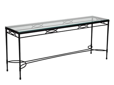 Rectangular Glass and Stainless Steel console table AMALFI | Console table