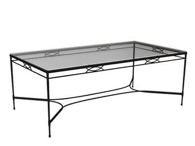 Tavolo da pranzo rettangolare in acciaio inox e vetro AMALFI GRANDE X