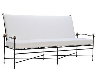Divano da giardino a 3 posti reclinabile in acciaio inox AMALFI | Divano da giardino reclinabile