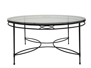 Round Glass and Stainless Steel dining table AMALFI | Round table