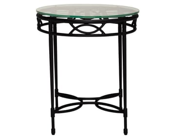 Round Glass and Stainless Steel side table AMALFI WOVEN | Side table