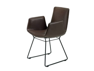 Sled base leather chair with armrests AMELIE ARMCHAIR