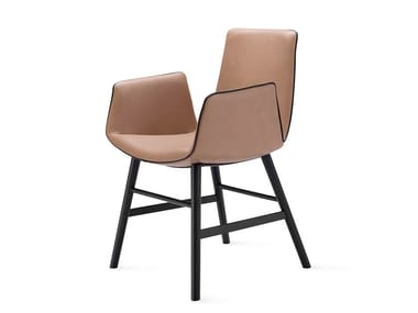 Leather chair with armrests AMELIE ARMCHAIR