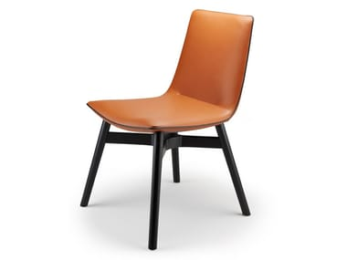 Upholstered leather chair AMELIE BASIC