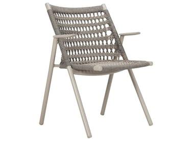 Stuhl aus nautisches Seil mit Armlehnen ANATRA | Stuhl mit Armlehnen