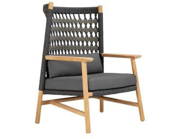 Sessel aus nautisches Seil mit hoher Rückenlehne ANATRA | Sessel mit hoher Rückenlehne