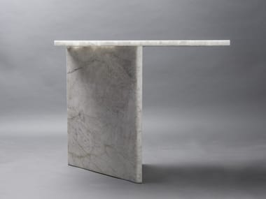Contemporary style rectangular stone console table AND SO I STAND
