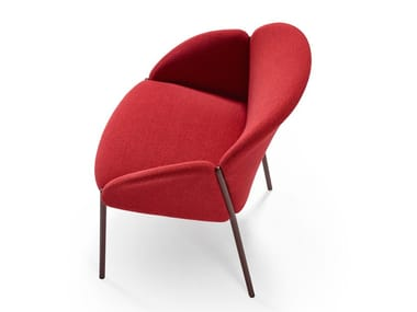 Upholstered fabric chair with armrests ANDREA