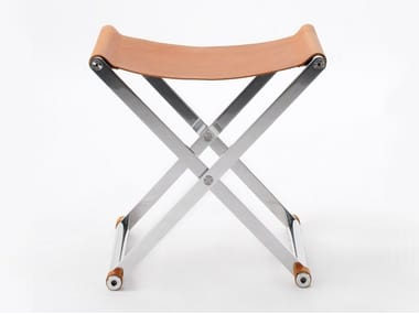 Folding leather stool ANDREA