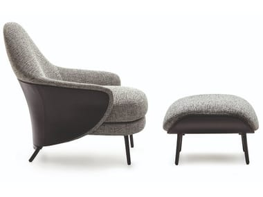 Fabric armchair with footstool ANGIE