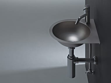 Wall-mounted stainless steel handrinse basin ANGOLO FLAT