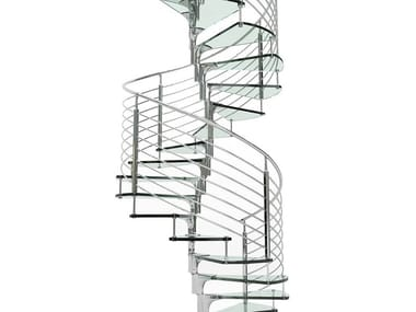 Glass and Stainless Steel Spiral staircase ANIMA