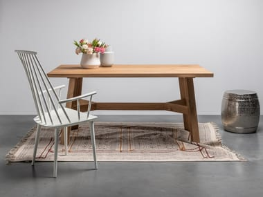 Rectangular dining table made of solid oak wood ANNE